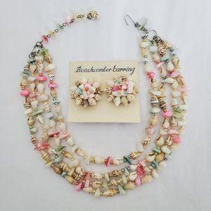 Vtg Japan Seashell Necklace Earring Set Rare Glass